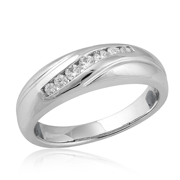 9ct White Gold Modern Fluid Design Mens' Ring