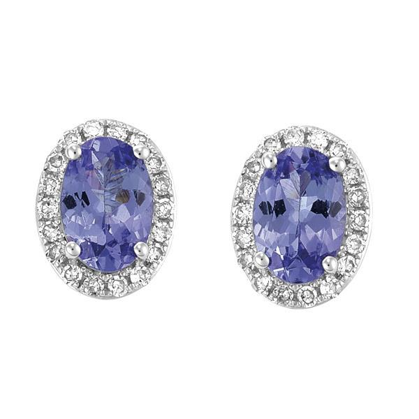 9ct White Gold Oval Tanzanite and Round Brilliant-cut Diamond Earrings