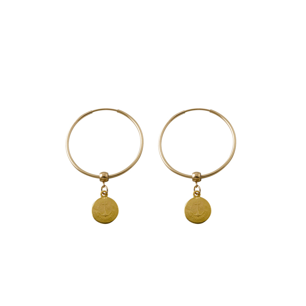 Von Treskow Hoop Earrings with Religious Charms