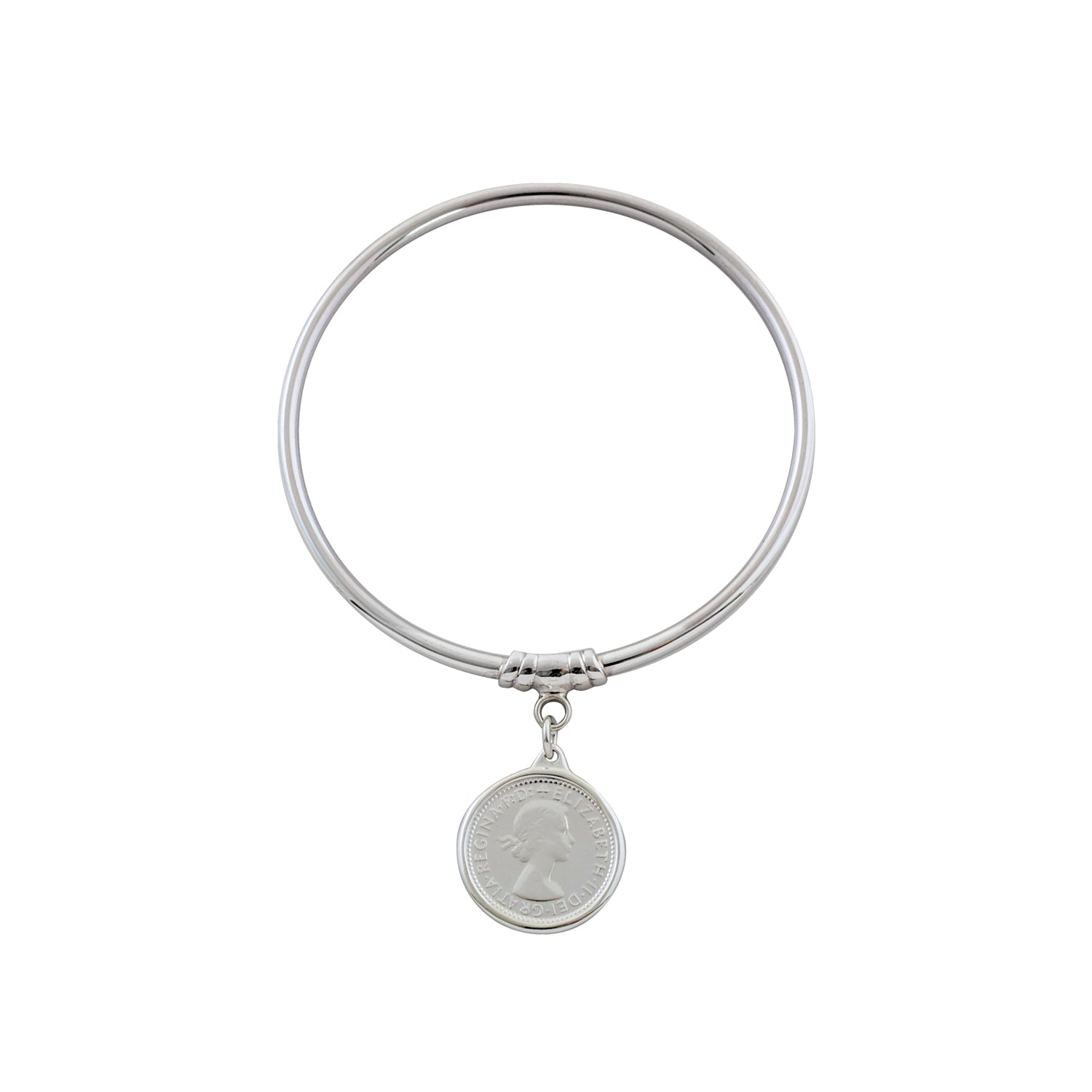 Von Treskow Sterling Silver 3mm Bangle w/ 6 Pence Coin