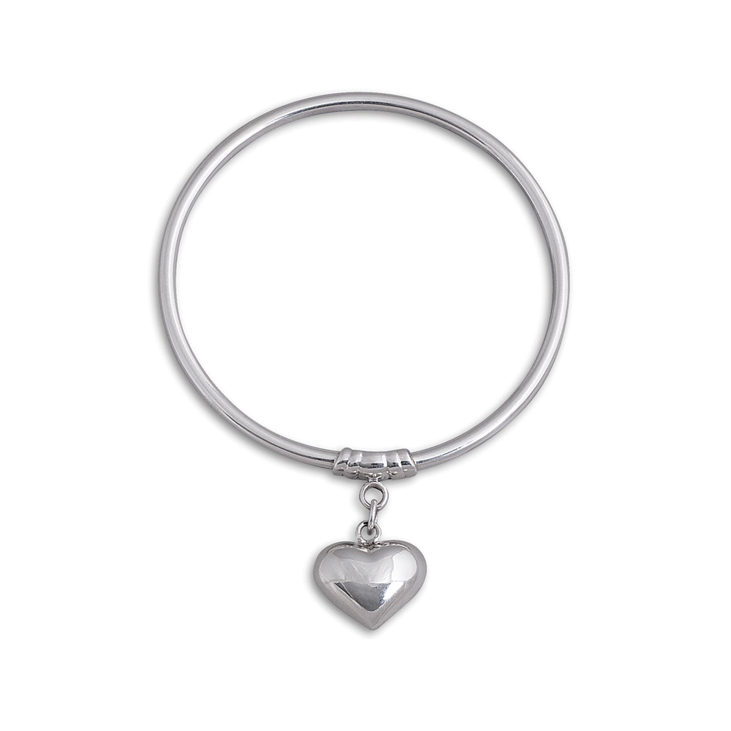 Von Treskow Sterling Silver 3mm Bangle w/ Small Puffy Heart