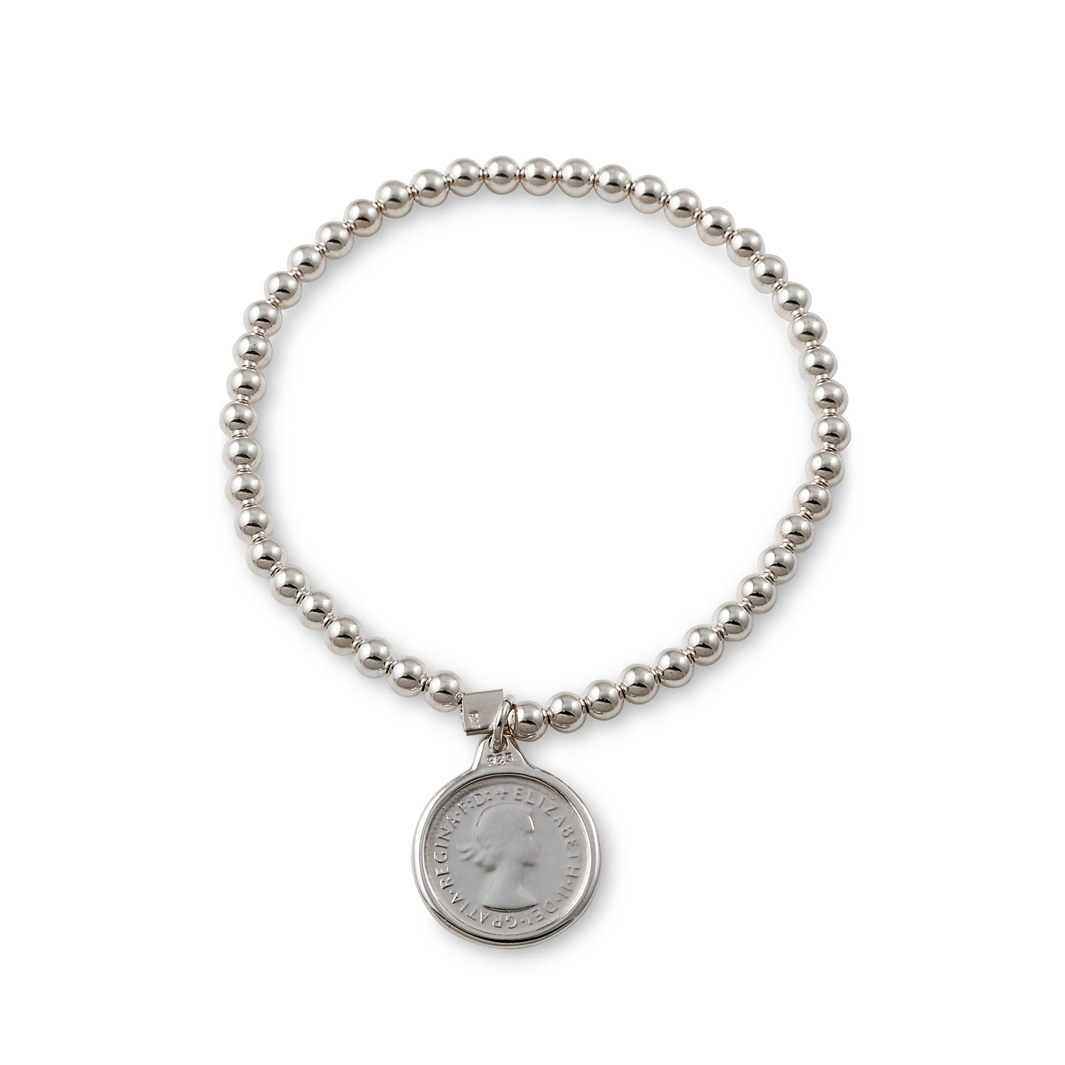 Von Treskow Sterling silver 4mm stretchy bracelet with authentic Australian threepence coin