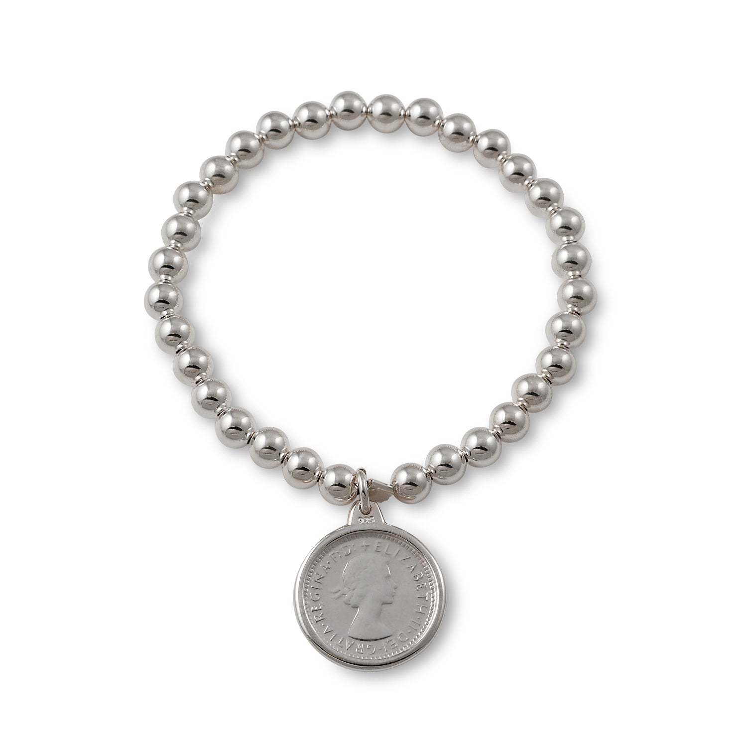 Von Treskow Sterling silver 6mm stretchy bracelet with authentic Australian sixpence coin