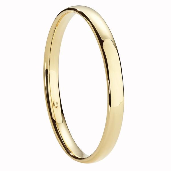 9ct Gold Bonded Silver 8mm Half Round Tube Bangle Internal Diameter = 65mm