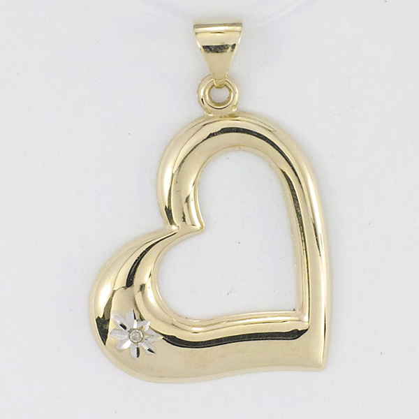 9ct Gold Diamond Set Polished Open Heart Pendant