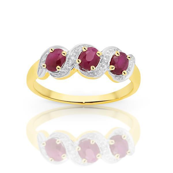 Yellow Gold Claw Set 3 Stone Oval Ruby & Pave Diamond Ring
