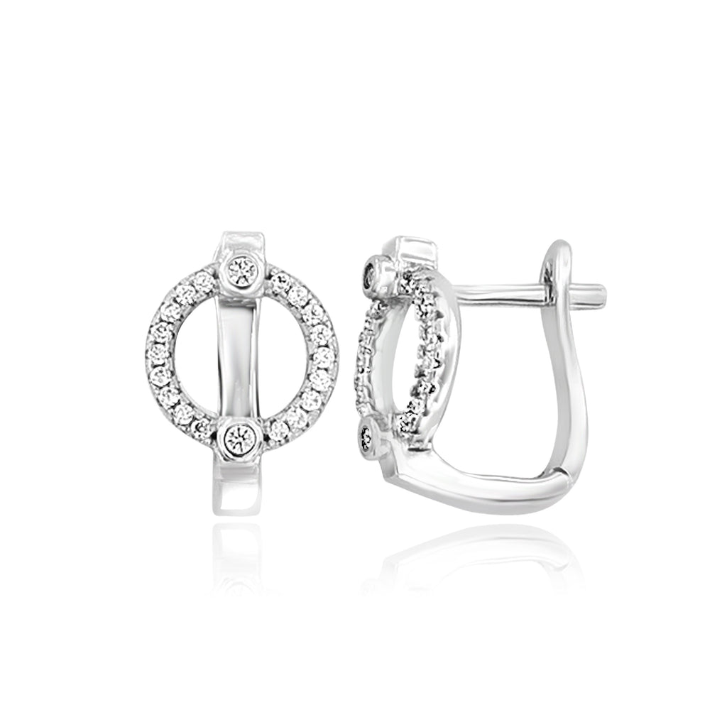 Sterling Silver and Cubic Zirconia Open Circle Huggie Earrings