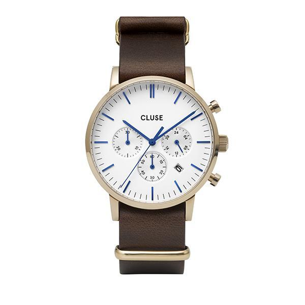 CLUSE Mens Aravis Chronograph Gold White/Dark Brown Nato Watch