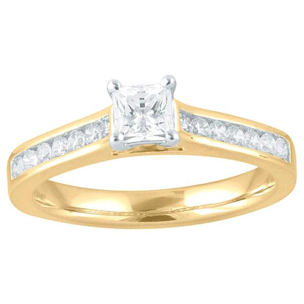 DDS -Semi Mount -9ct G SI2 - PRINCESS CUT -  6 CLAW WITH CHANNEL DIAMOND SHOULDERS