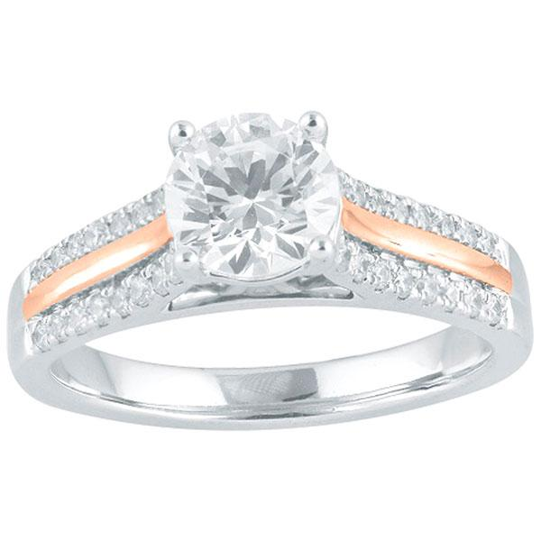 DDS -Semi Mount -9ct I P1 - RBC - 4 CLAW WITH ROSE GOLD FEATURE DIAMOND SHOULDERS
