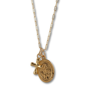 Von Treskow Yellow gold filled flat filligree chain necklace with gold plated oval St. Christopher medal & cross - 50cm length