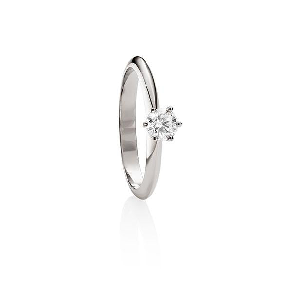 MP5595 18ct white gold 6 claw 0.33ct diamond solitaire ring.