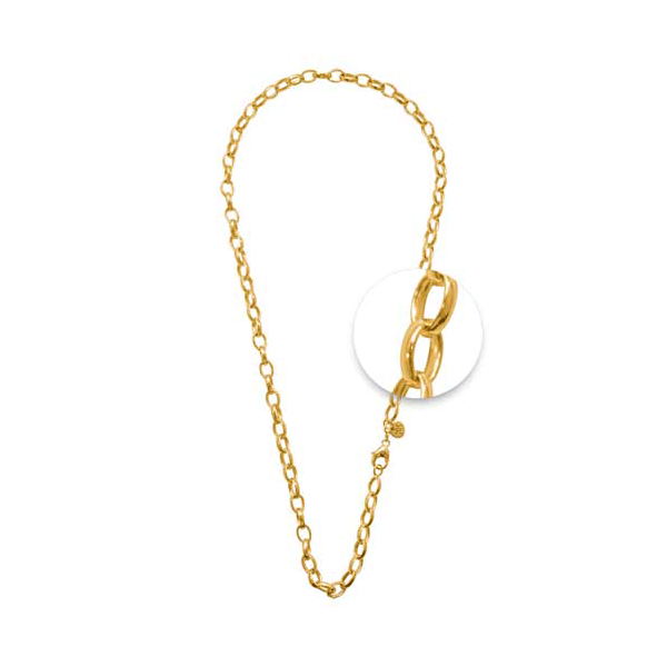 Nikki Lissoni Gold Plated Oval Belcher Charm Necklace 45 cm