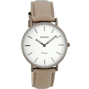 OOZOO Watch 36mm matt taupe alu case / silver on white / taupe