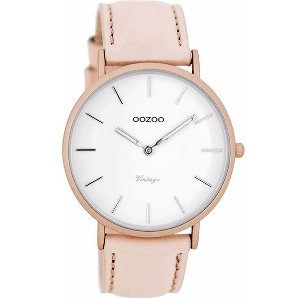 OOZOO Watch 40mm matt blush pink alu/ silver on white / blush pink