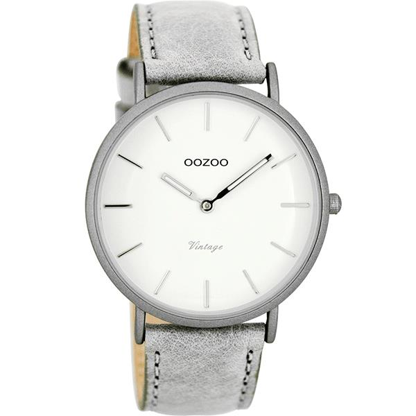 OOZOO Watch 40mm matt light grey alu/ silver on white / light grey