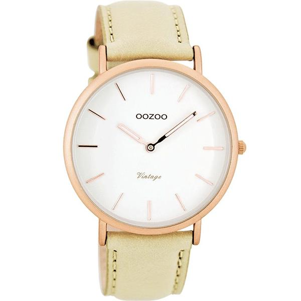 OOZOO Watch 40mm matt rose gold alu case / rose gold on white / cream