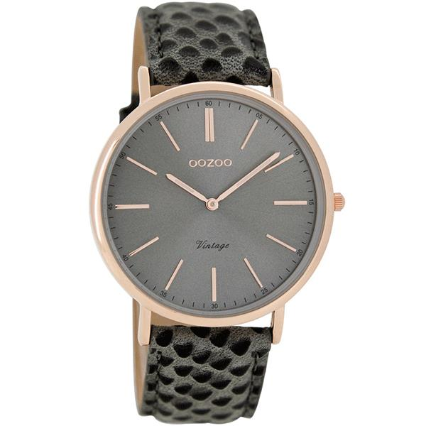 OOZOO Watch 40mm rose gold on brushed grey / grey lizard
