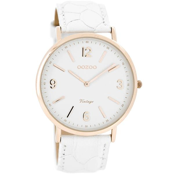 OOZOO Watch 40mm rose gold on white / white croco