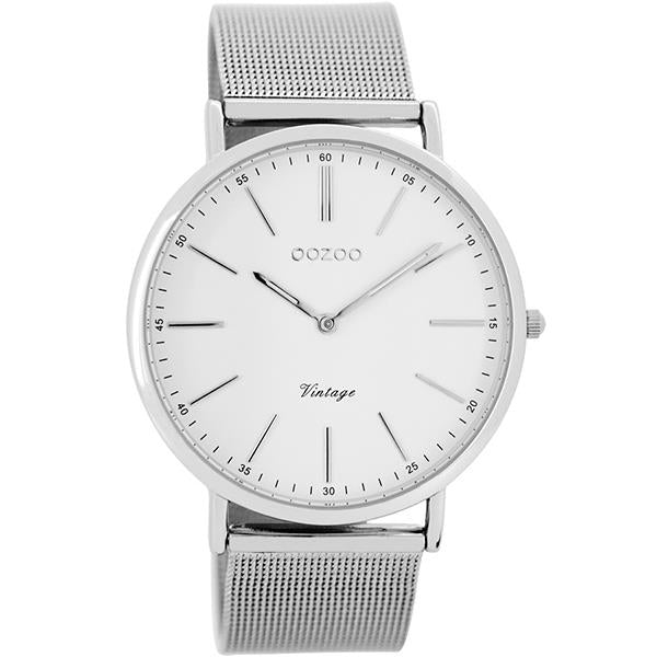 OOZOO Watch 40mm silver case / silver on white / silver mesh