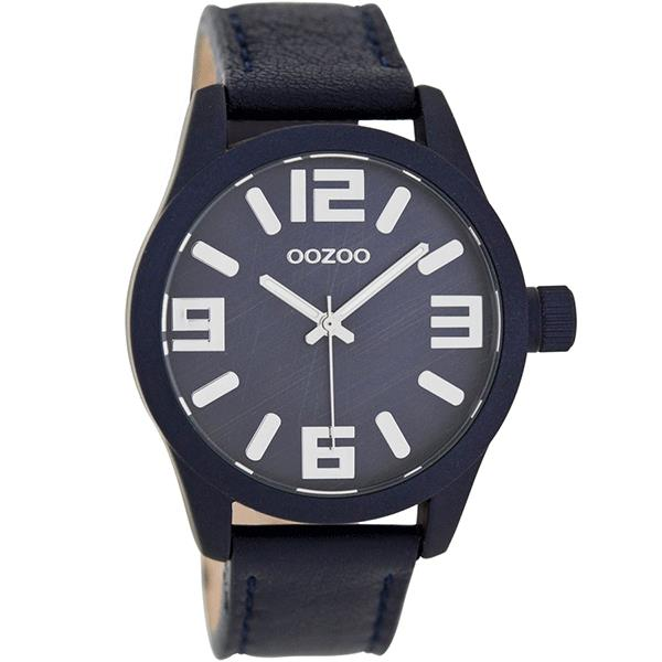 OOZOO Watch 41mm matt navy alu case / silver on navy / navy