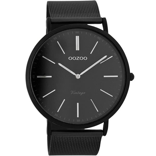OOZOO Watch 44mm matt black alu/ silver on black / matt black alu mesh