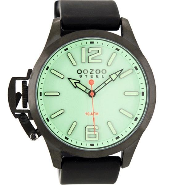 OOZOO Watch 46mm matt blk(10ATM)/diver's green on green/blk rubber