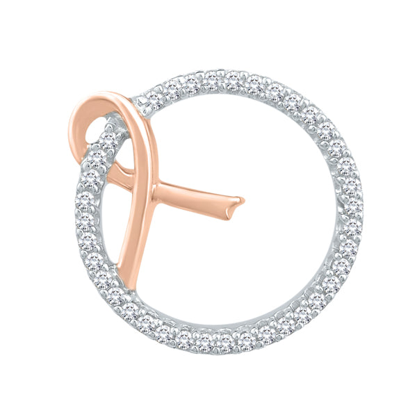 PINK STYLE 9ct RG & SS diamond set pink ribbon circle of life pendant with chain