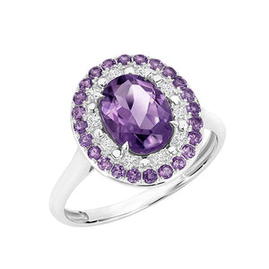 Temptation 9Ct White Gold Amethyst Ring