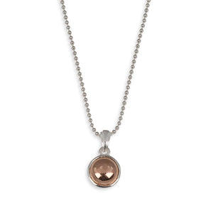 Von Treskow Sterling silver fine ball chain necklace with 8mm round gold filled pendant - 42cm length