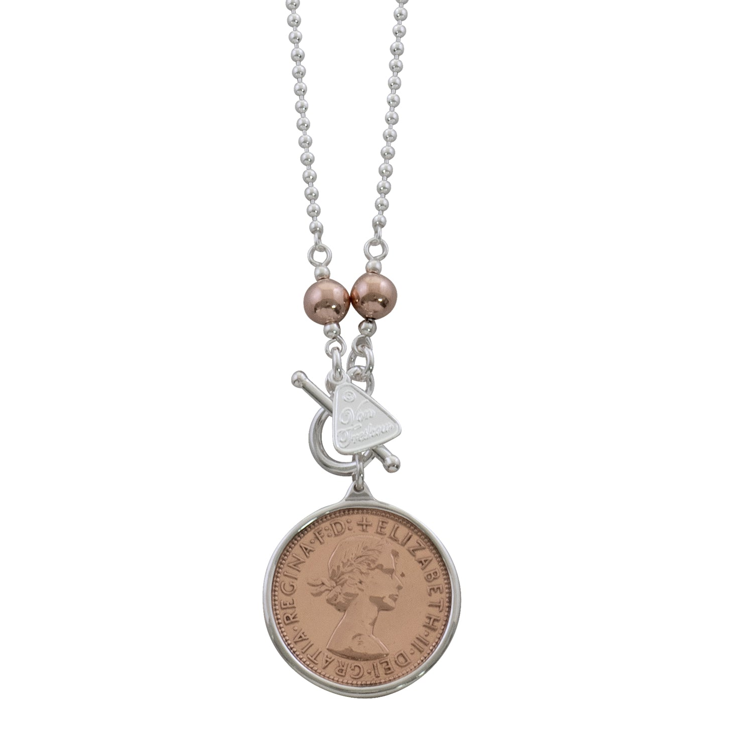 Von Treskow Sterling Silver Ball Chain Necklace w/ Rose Balls & 2 Tone Penny Coin - 80cm