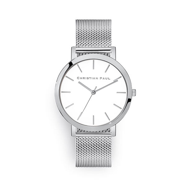 Christian Paul Silver Raw Mesh 43mm Watch