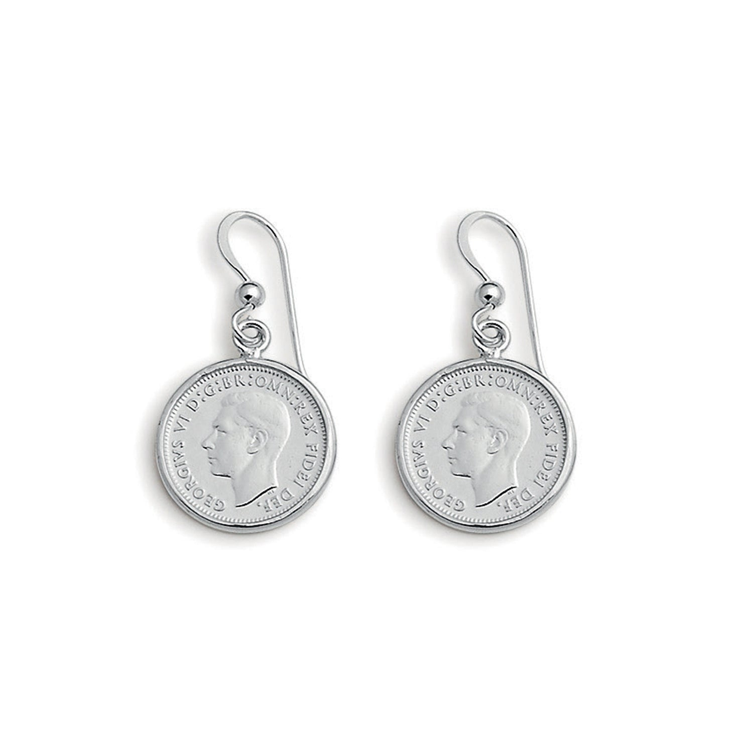 Von Treskow Sterling Silver Authentic 3 Pence Coin Earrings