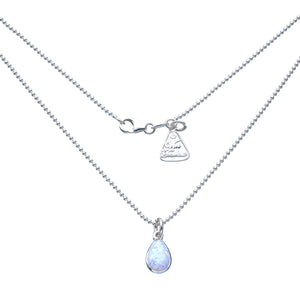 Von Treskow Sterling silver 42cm fine ball chain with pear shape Czelline Opal