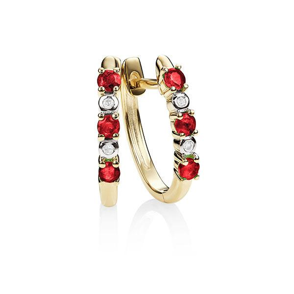 9Ct Gold Created Ruby & Diamond Huggies