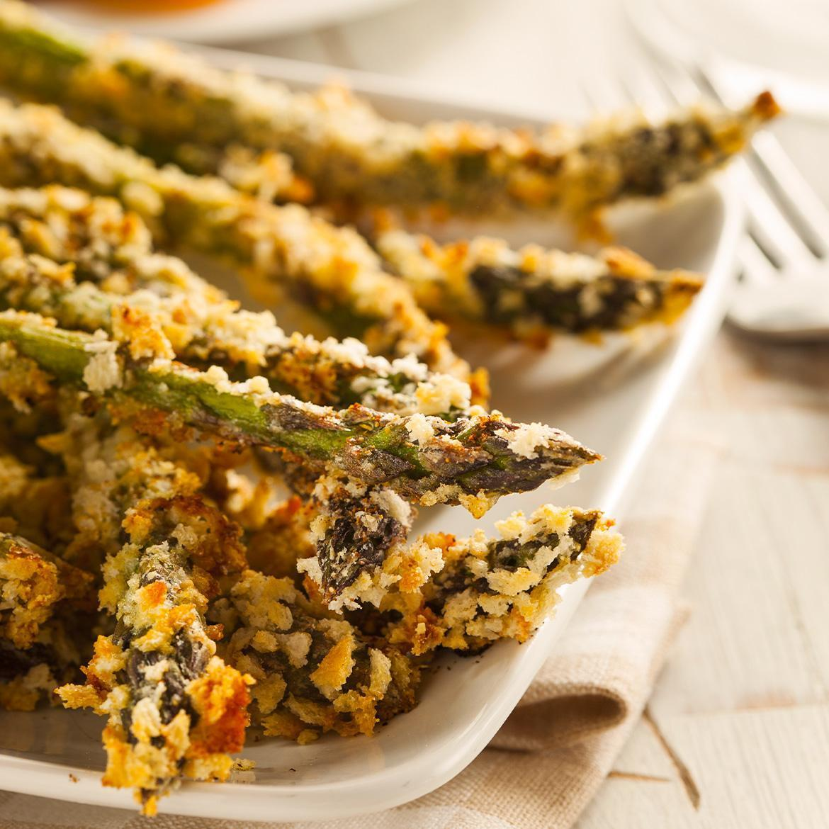 Asparagus tips breaded with almonds