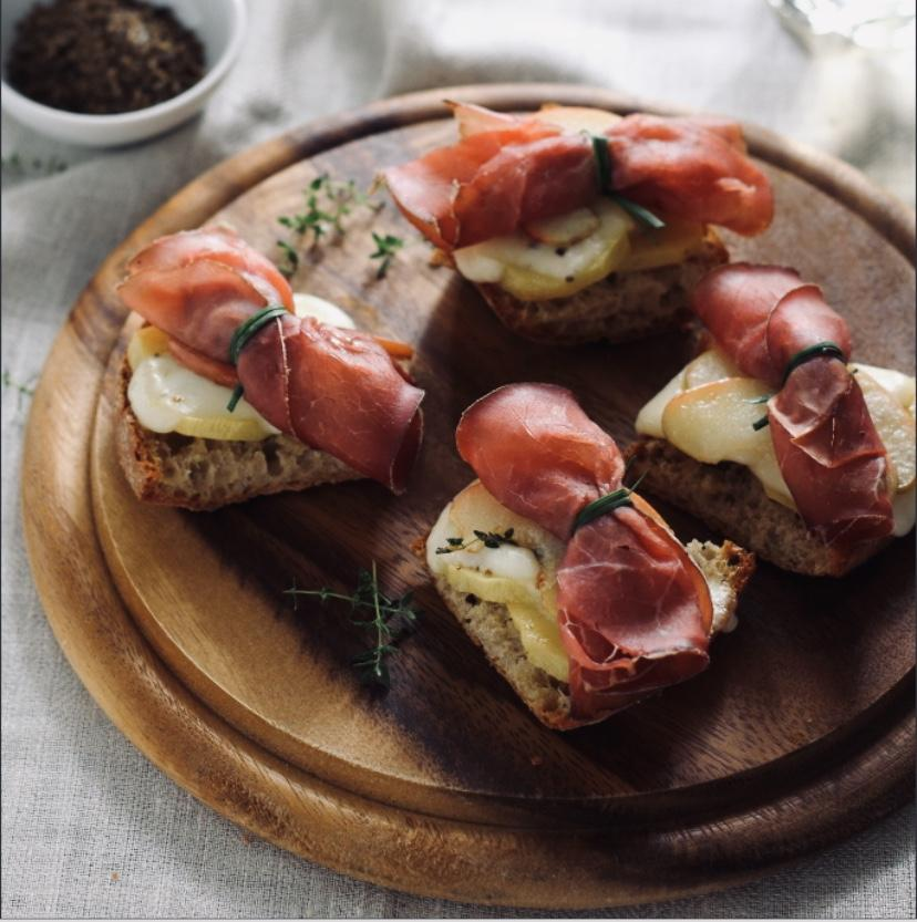 Bresaola and Goat Taleggio Crostini