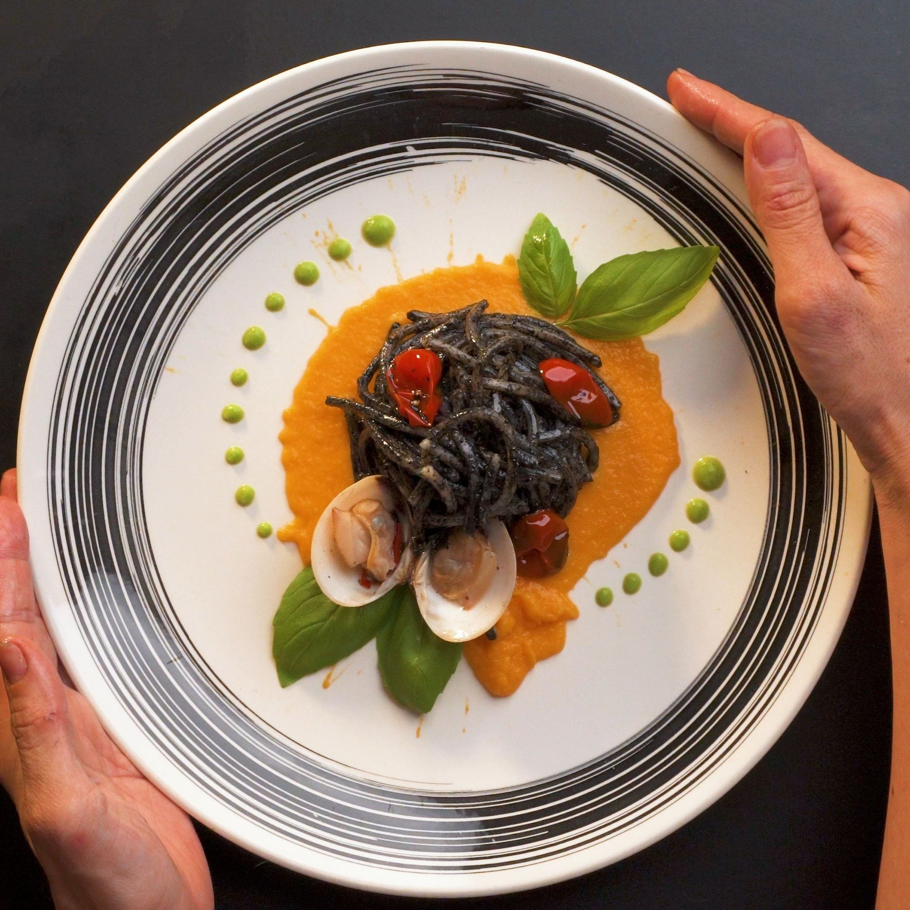 🦑 Squid Ink Spaghetti with Clams & Cherry Tomatoes 🦑
