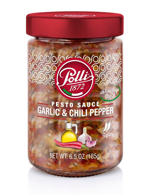 Garlic and Chili Pepper Pesto Sauce by Polli - 6.7 oz Antipasto & Bites SOGNOTOSCANO