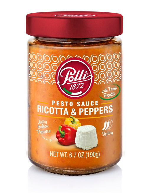 Pesto Sauce Ricotta Cheese & Peppers by Polli - 6.7 oz Antipasto & Bites SOGNOTOSCANO