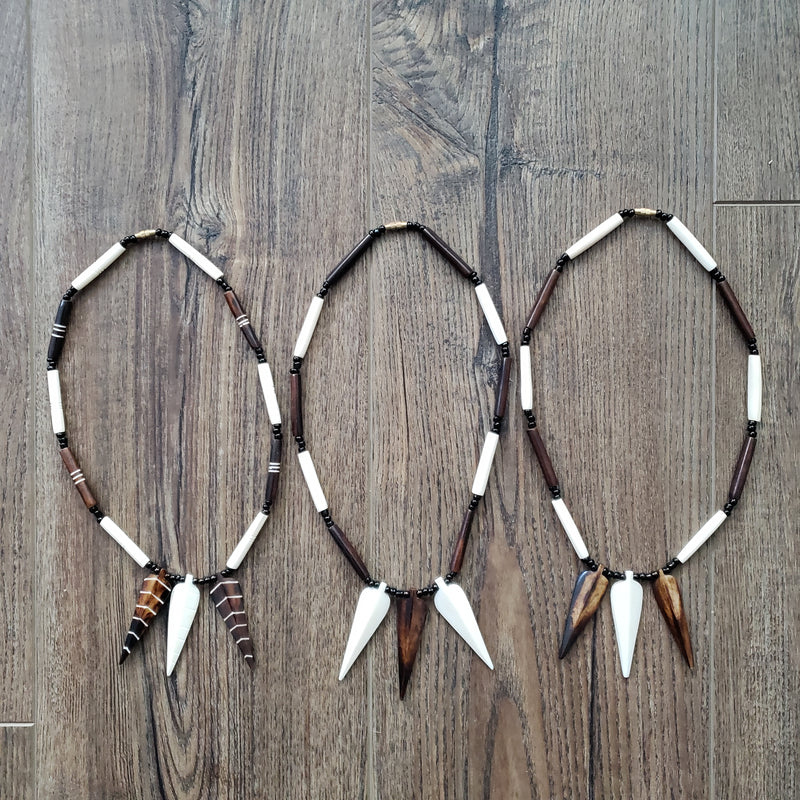 Tribal Spearhead Bone Necklace