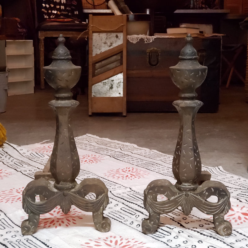 Antique Vintage Cast Iron/ Brass  Andirons