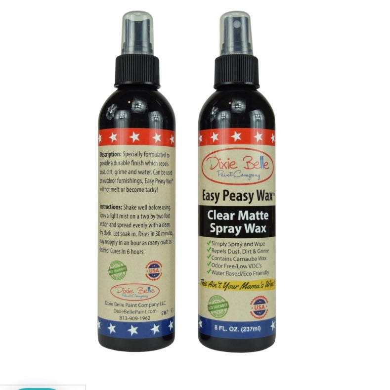 Easy Peasy Wax, Clear Matte Spray Wax  / Dixie Belle Chalk Mineral Paint