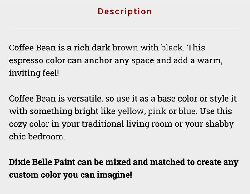 Coffee Bean / Dixie Belle Chalk Mineral Paint