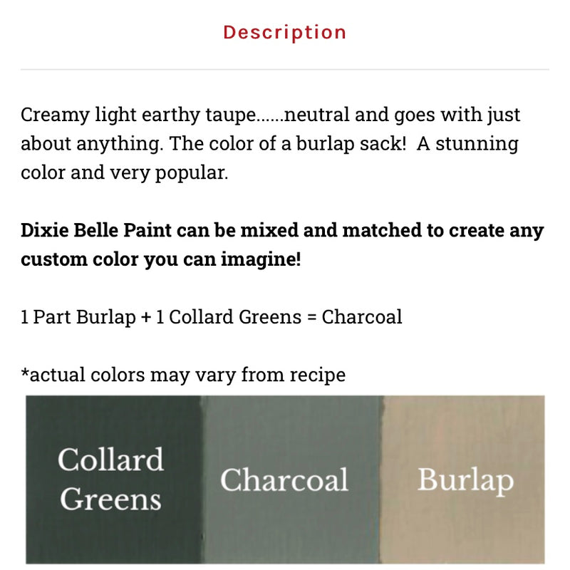 Burlap / Dixie Belle Chalk Mineral Paint