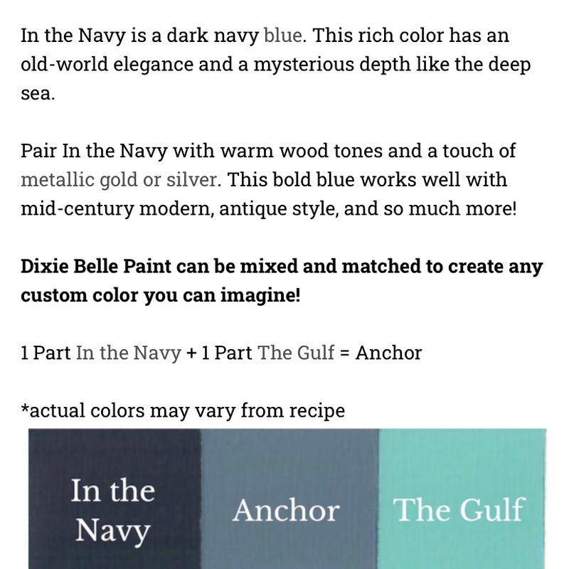 In the Navy / Dixie Belle Chalk Mineral Paint