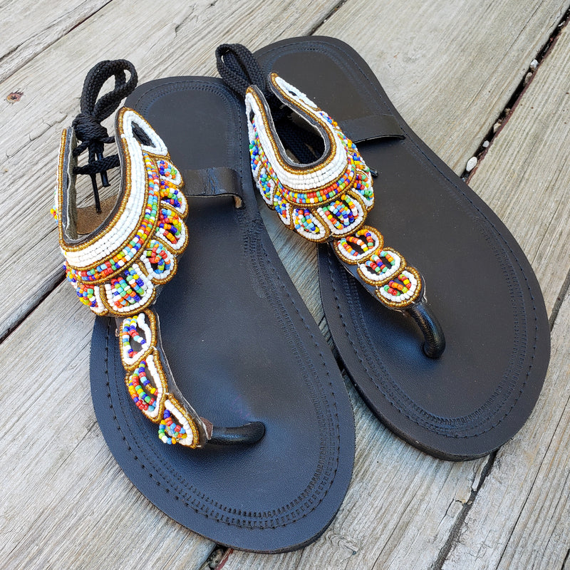 African Beaded Leather Sandals:  EU 43 ( US 12  ) Bright, Bold Patterns