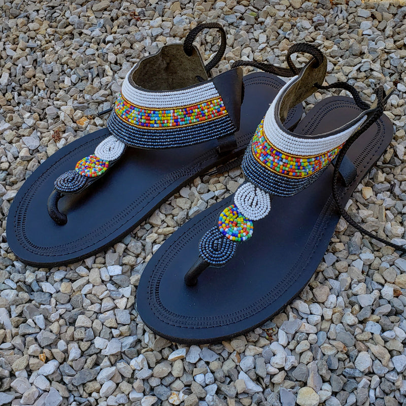 African Beaded Leather Sandals:  EU 42 ( US  11-12 )  Bright, Bold Patterns