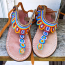 African Beaded Leather Sandals, Kids:  EU 28  ( US 11 ) Bright, Bold Patterns