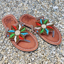 African Beaded Leather Sandals:  EU 36 ( US 5-6 )  Bright, Bold Patterns